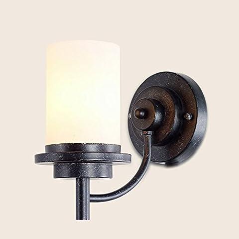 GJY Applique Applique Murale Lampe de Fer Verre Abat-Jour E27 Lumière Européenne Salon Restaurant Balcon Allée Rétro Seule Tête Lampe Chambre Chevet