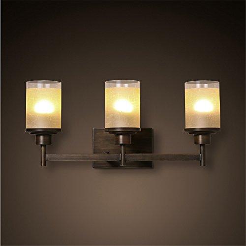 Eisen-drei-licht-eitelkeit (BOOTU LED Wandleuchte nach oben und unten Wandleuchten Rustikale Eisen drei TV-Wandleuchten Wandleuchten treppen Wohnzimmer Spiegel vor Licht Eitelkeit Wandleuchte (560 * 260 mm))