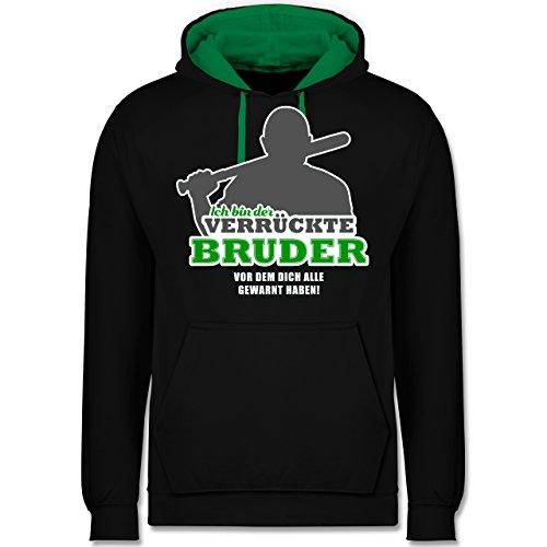 Shirtracer Bruder & Onkel - Ich Bin der verrückte Bruder, vor dem Dich alle gewarnt haben - L - Schwarz/Grün - JH003 - Kontrast Hoodie