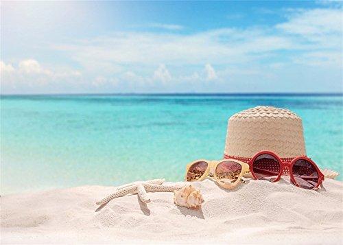 Beach Hintergrund Seaside Stroh hat Gläser Seestern Hintergründe die Fotografie Blue Sky White Cloud Ocean Foto Hintergrund Kinder Erwachsene Summer Holiday Studio Requisiten ()