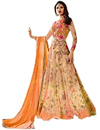 Alka Women's Heavy Net & Benglori Fabric Heavy Embroidered & Digital Print Work Salwar Suit (Free Size)