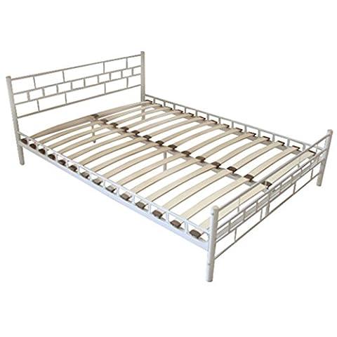 vidaXL Cadre de lit double 160 x 200 cm Blanc