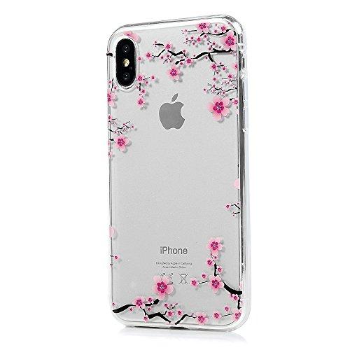 Badalink Coque pour iPhone X, Etui en TPU Silicone Souple Coque de Protection Ultra Mince Scratch Cas de Téléphone Peint Coloré Couverture Arrière IMD - Papillion et Fleur Fleur de Prunier