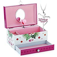 Musical Jewelry Box - Musical Storage Box with Drawer and Jewelry Set With Lovely Unicorn Theme - Swan Lake Tune Rose Red