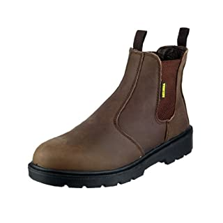Amblers Steel Mens Fs128 Safety Dealers Work Boots Brown Size 8