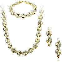 18k Gold Plated Swarovski Rhinestone Wheat bead shape JEWELRY SET with Necklace, Bracelet & Earring