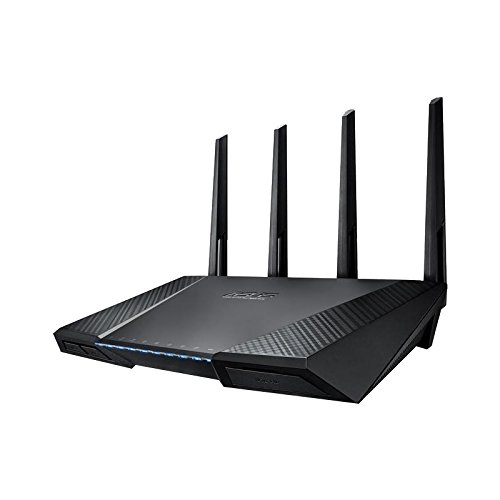 Asus RT-AC87U AC2400 Black Diamond Dual-Band Power WLAN Router (802.11 ac, Gigabit LAN/WAN, USB 3.0, Print FTP VPN Server, SSID, Wave 2 Mu-Mimo)