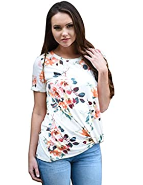 Rcool - Camiseta para Mujeres - Manga Corta de la Impresión de la Flores de la Blusa de Verano Tops