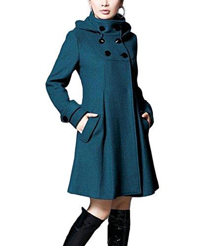 Mujer Chaqueta Larga de Elegante Abrigo Trench Doble Botones Jacket Coat Outwear con Capucha Azul L