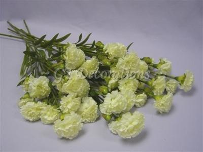 6fiore di seta artificiale 7teste 60cm garofano steli da GT decorazioni Cream