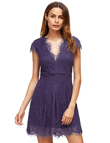 ROMWE Damen Spitzenkleid V Ausschnitt Kurzarm Figurbetontes Elegant Abendkleider Partykleider Cocktailkleid Violett
