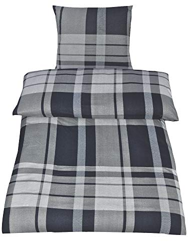 4-Teilig Hochwertige Biber Bettwäsche TIM mit Reißverschluss 2x 135x200 Bettbezug + 2x 80x80 Kissenbezug , Öko-Tex Standart 100 (Karo Anthrazit)
