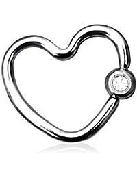 Kultpiercing Piercing anneau hélix/tragus en forme de cœur Argenté