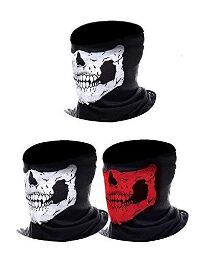 JBR 3-Pack Horror Masken Halloween Face Shield Sturmhaube Multifunktionstuch Maske Fishing Totenkopf Schal Skull Bandana Gesichtsmaske Halstuch Ski Motorrad Paintball