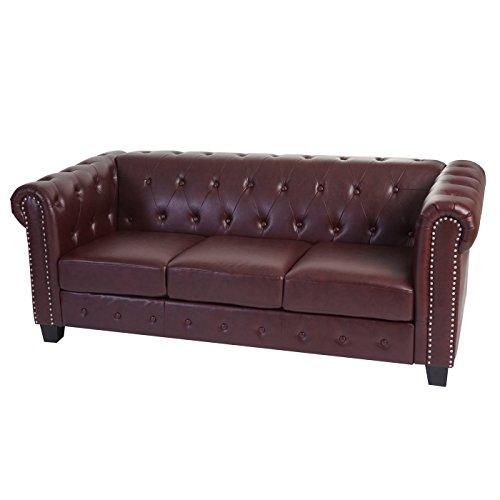 Luxus 3-2-1 Sofagarnitur Couchgarnitur Loungesofa Chesterfield Kunstleder ~ eckige Füße, rot-braun - 3