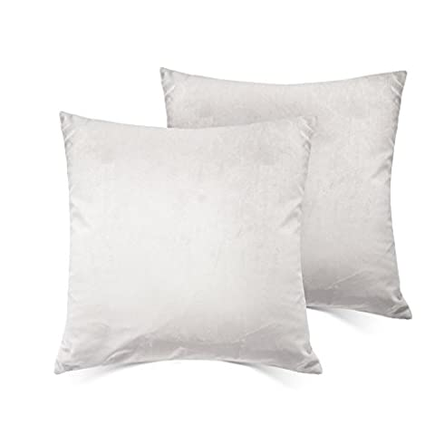 Home Decorative Cushion Cover 18x18 Cotton Velet Throw Pillow Case With Inviseible Zipper Set Of 2 For Couch,Sofa,Bed,Couch?Furniture - Silver - Only Case ,No Insert