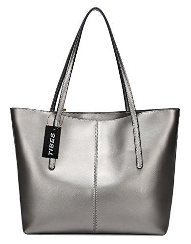 Tibes Damen Designer echtes Leder Handtasche Tote Geldbeutel Silber und Grau (Leder Silber Hardware)