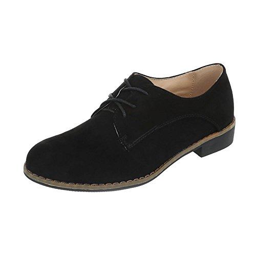 Schnürer Damen-Schuhe Oxford Blockabsatz Schnürer Schnürsenkel Ital-Design Halbschuhe Schwarz, Gr 40, F169-15-1-