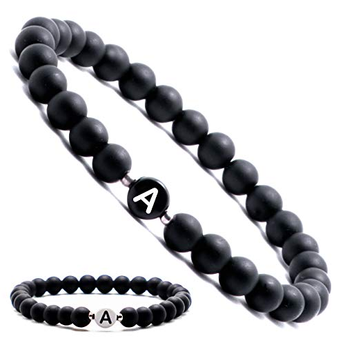 Personalisierte Namensarmbänder   Partnerarmbänder mit Onyx Perlen   Perlenarmband   Individueller Schmuck für Männer und Frauen   Buchstabe A