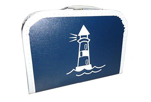 martoli Pappkoffer blau mit Leuchtturm weiß 25 cm mit Trim -