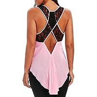 Jareina Camiseta sin mangas para mujer, con encaje floral, sin espalda, sin mangas, mujer, color rosa, tamaño Large