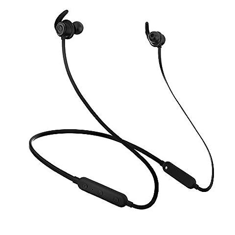 AlierGo SoundOn Neckband Écouteur Bluetooth,Oreillette Bluetooth Tour de Cou Casque Sans Fil, IPX5 Étanche Écouteur Sans Fil Sport avez CVC6.0 Réduction de Bruit et Micro Intégré.