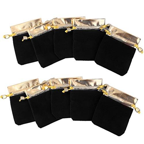 10 Samt Säckchen Schmuckbeutel Geschenkbeutel Schmucksack Gold 7x9cm