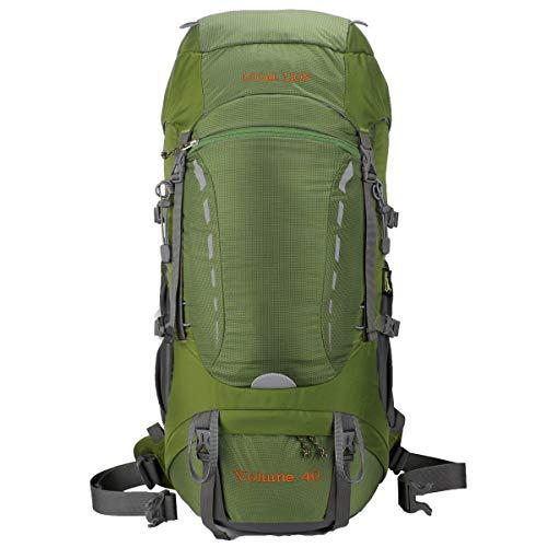Eshow Unisex Trekkingrucksäcke Wanderrucksäcke Reisenrucksack Camping Outdoor Reisen Sport Wandern Trekking Rucksäcke 40L mit Regenhülle, Grün