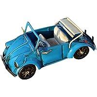 Escomdp Decoración del hogar Antiguo Vendimia Coche Hecho a Mano Colecciones Vehículo Juguete Modelo (Azul
