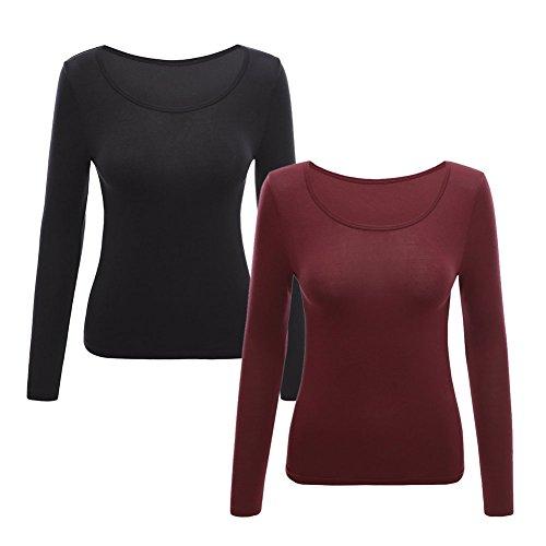 WY Abbigliamento Termico Ms. Collare O Ultrasottile Mantieni Caldo ( Colore : Black+maroon , dimensioni : M ) Black+maroon
