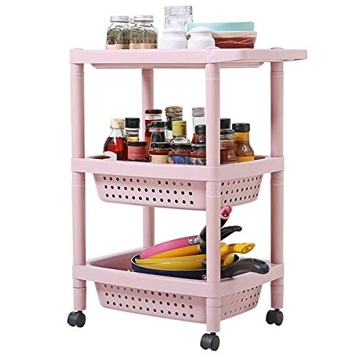 FQJYNLY Servierwagen Küchenwagen Multilayer-Move-Regale Lagerregal PP-Kunststoff Rolle Durchbrochener Korb Belüftung Badezimmer, 3 Farben, 2 Größen (Color : Pink, Size : 47.5X31X63cm)