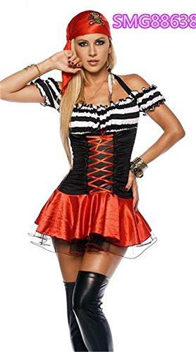 DLucc Vielzahl von Halloween-Kostüm- Kleid weibliche Piraten des karibischen Piraten Dame Pirate Kleid Kleidung Kostüm