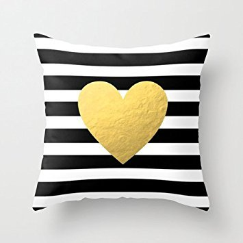 Satin Striped Button (Beautifulseason 18 X 18 Inches / 45 By 45 Cm Euro Style Throw Cushion Covers,two Sides Is Fit For Valentine,saloon,gf,car,play Room,teens Girls by beautifulseason)