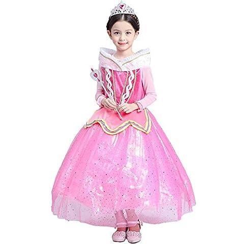 Das beste Neue Prinzessin Sleeping Beauty Aurora Kleid Kostüm Mädchen Kleider Rosa (110)