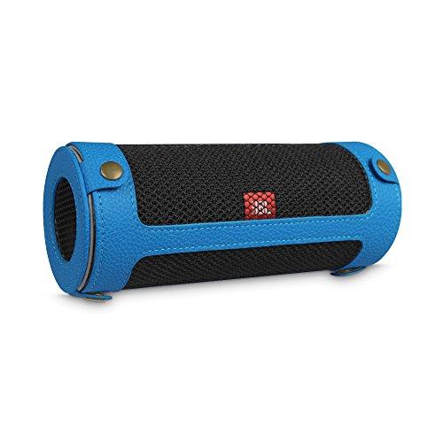 Fintie JBL Flip 4 Tragbare Lautsprecher Hülle Abdeckung - Hochwertiges Kunstleder Schutzhülle Tasche Case mit Karabinerhaken für JBL Flip4 Tragbare Lautsprecher, Königsblau