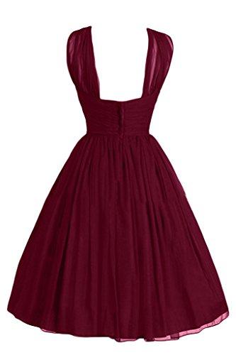 Ivydressing Damen Liebling A-Linie Chiffon Kurz Einfach Cocktailkleid Festkleid Abendkleid Weinrot