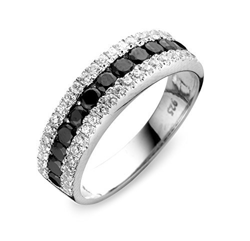 Velini, anillo R6897, 925 plata de ley, ajuste micro pavé, calidad AAA, blanco y negro de piedras zirconia cúbico que brilla como diamantes