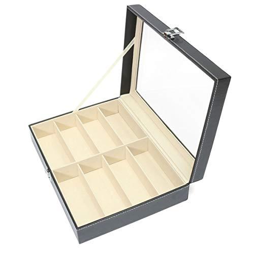 Heaviesk Sonnenbrillen Aufbewahrungskoffer 8 Grids Luxus PU Leder Männer Frauen Sonnenbrillen Shop Display Box Fall