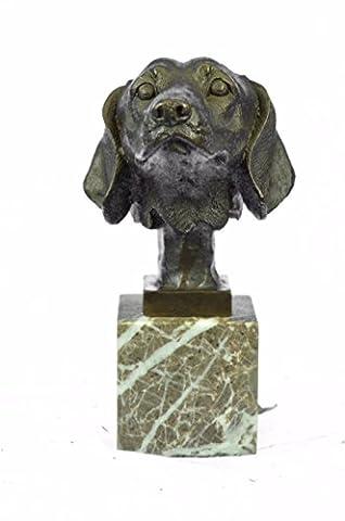 Selten Handmade Bronze Skulptur Bronze Statue zeichnetes Original Glücklicher Labrador-Welpen-Hunde Büste Marmor Basis-Dekor-EUxn-2487- Decor Sammler Geschenk