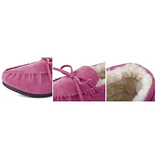 Summer Mae Damen Faux Fur Loafer Sämischleder Schuhe Slip on Flache Mokassins Hausschuhe Fahrschuhe Winter Rosa