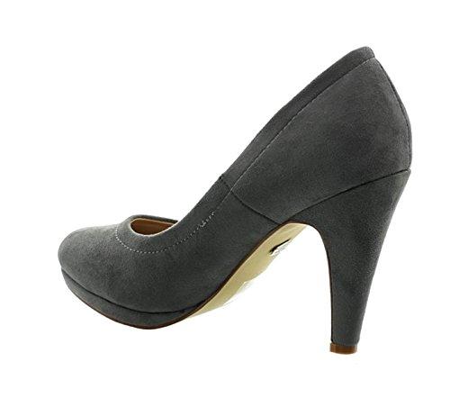 Klassische Damen Plateau Pumps Stilettos High Heels Trichterabsatz Schuhe E21 Grau
