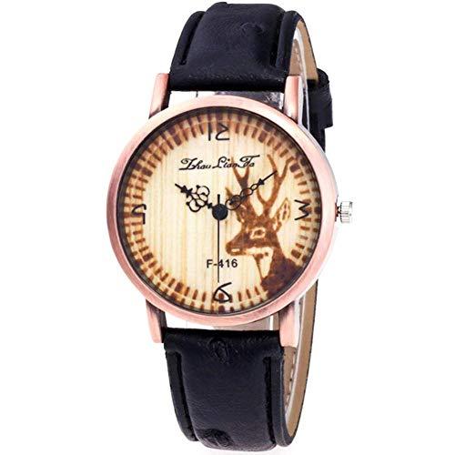 Reloj de Pulsera Estilo Casual Patrón de Ciervos Dial Redondo Correa de Cuero PU Relojes Femenino(Negro)