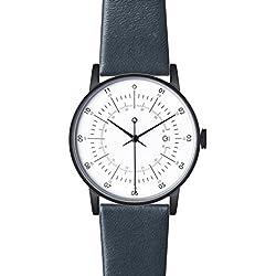 """squarestreet """"Plano"""" Edelstahl IP Matte Schwarz Swiss Quarz Datum Weiß Leder Blau Navy Unisex Uhr"""