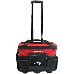 Husky GP-43196N13 Bolso con ruedas para herramientas, resistente al agua, rojo, 600 denier, 45,7 cm, con mango telescópico
