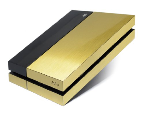 Gehuse-aus-gebrstetem-Metall-GOLD-rundum-Skin-Aufkleber-Zubehr-fr-PS4-Playstation-4