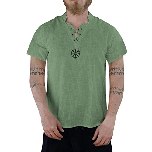 TWISFER Herren Casual T-Shirt Baumwolle Yoga Shirt Hippie Fisherman Sommerhemd Top Leinenhemd luftig schnelltrockend Daily Look Leinenhemden Sommer Tops