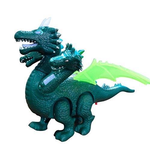 YeahiBaby Juguete Dinosaurio Electrónico Caminando con Sonidos Dragón Realista para Niños Dragón de Tres Cabezas Color Aleatorio