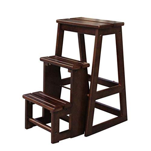 Massivholz Tritthocker Massivholz Leiter Stuhl Schemel Multifunktionsregal Leiter Faltbare Hauptbibliothek 3 Schritte 150kg Kapazität (2 Farbe) Schritt Hocker (Farbe : Walnut colour)