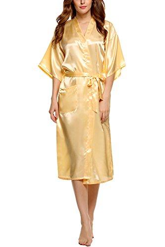 Dolamen Damen Morgenmantel Kimono, Luxuriös glatte Satin Nachtwäsche Bademantel Robe Kimono Negligee Seidenrobe locker Schlafanzug, Langer Stil Gelb