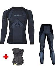 BRUBECK® SET Ropa interior funcional a largo esquí polaco (tecnología de punto 3D Termo Activo Luz anti-olor) + UP® ELWS tela tubular, L;Color:negro